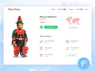 7 Apps for Santa - #4 POCKET PARTNER app icons map statistics graph profile dashboard ui newyear snow badsanta elf christmas