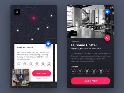 Hostel Search Application search icons card map darkui interface colors hotel hostel application ux ui
