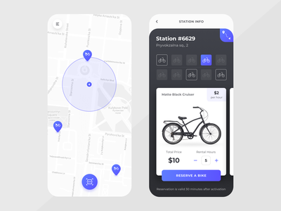 NextBike : Concept map bike sharing card interface application ui