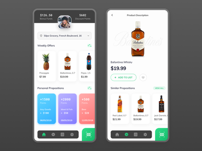 Grocery Store Application shop app product card colors icons profile card interface app ui