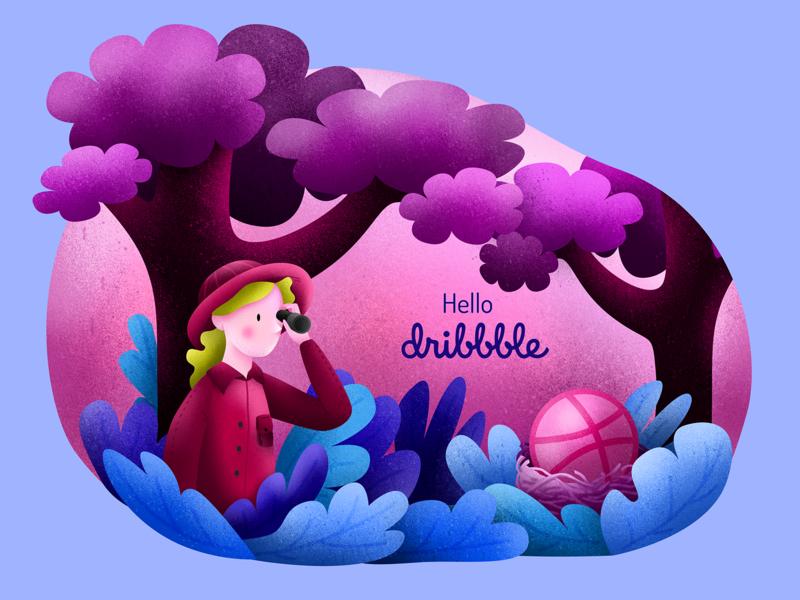 Hello dribbble explorer hello dribbble forest design flat illustration