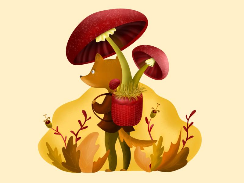 fox illustration mushroom fox design flat illustration
