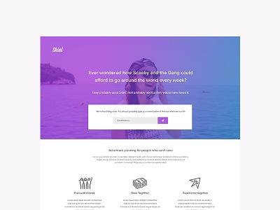 Skint Marketing Website travel summer web app app startup landing page ui website
