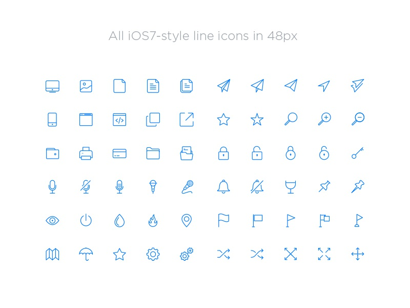 iOS Inspired Line Icons for iOS 7 and iOS 8 free ios 7 ios 8 ios line icons icons app icons india bangalore thin icons attachment
