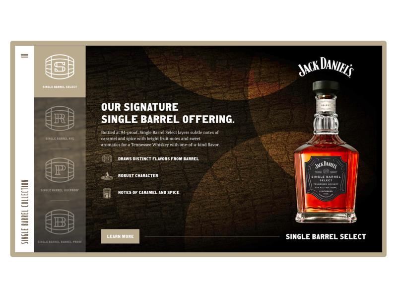 Jack Daniels Single Barrel Select Landing Page