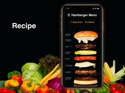 """Hamberger Menu """"Recipe"""" DailyUI 040"""