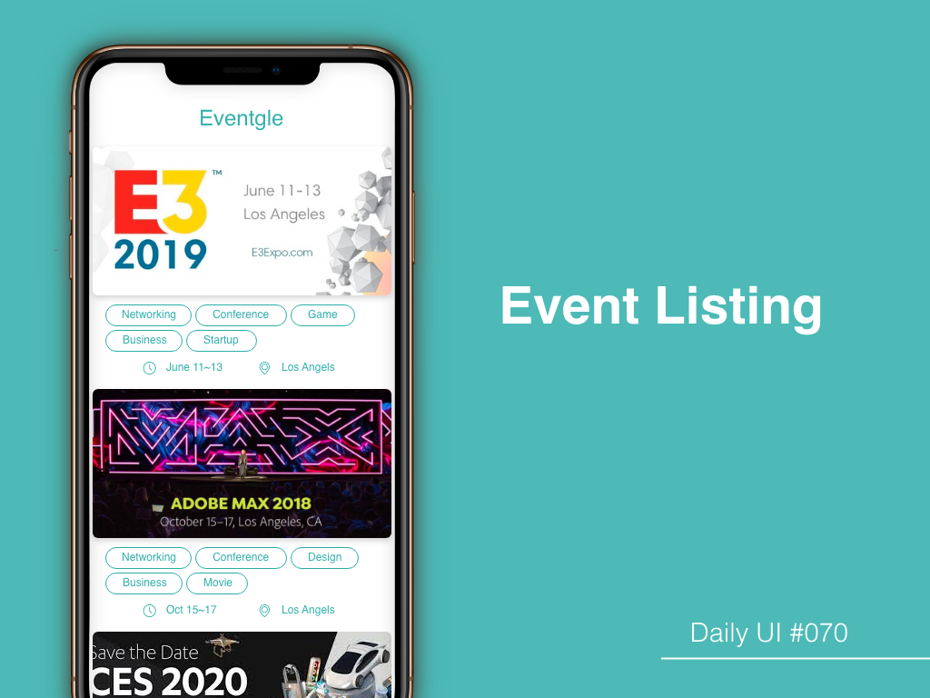 """Event Listing"" DailyUI 070 dailyui 070 listing event"