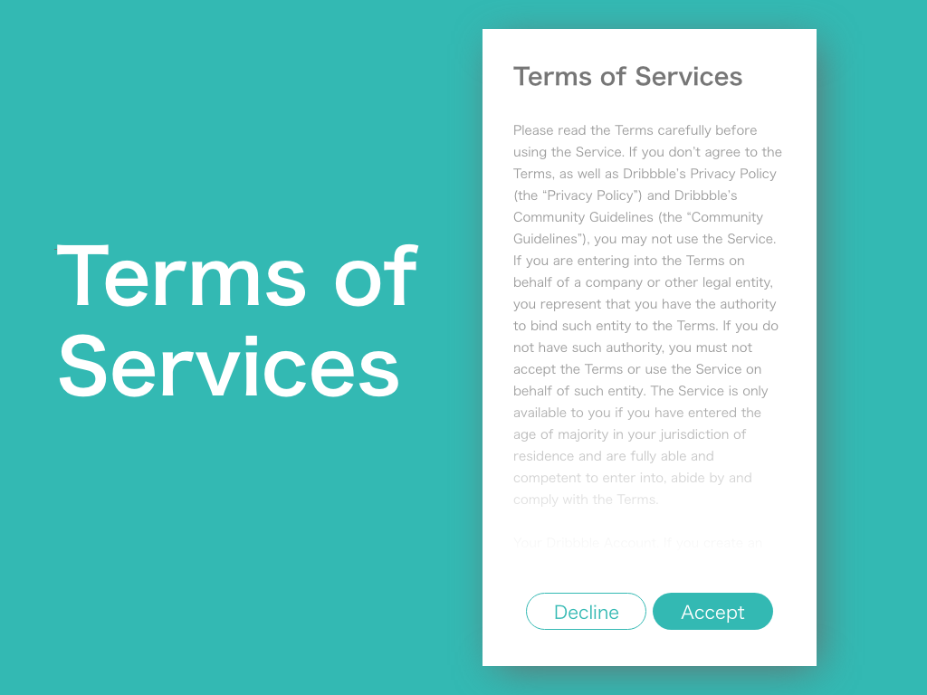 """""""Terms of Services"""" DailyUI 089 terminal dailyui terms of service terms"""