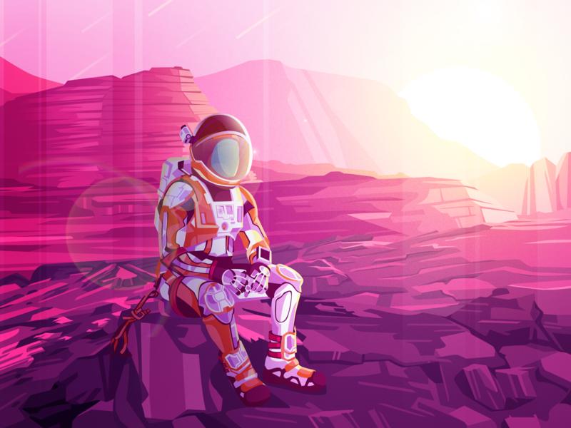 Astronout hello planet lifu studio comet pink rock ui web design dashboard landing page earth alien astronout space galaxy mars illustraion