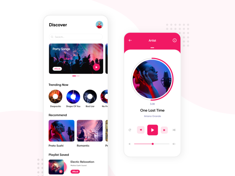 Music App - Concept Design gaana trending ui pink interfacedesign iphone layoutdesign player ui modern music app uxdesigner app design ux ui music