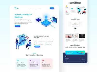 Tru Technology 3d animation illustration landing page design brand blue art app animation branding 3d webdesign typography ui minimal illustration design website web
