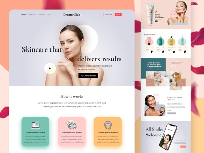 Beauty Website logo flat ux minimal branding 3d typography ui illustration design website web