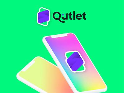 Qutlet sketch mark brand identity brand logodesigns startup logotype app icon vector logo minimal branding 3d typography design