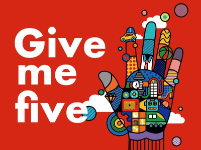 Give me five! typography ad graphic design visual effects illustration branding