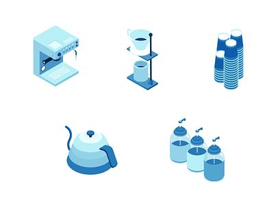 Coffee Paraphernalia isometric design isometric illustration isometry isometric vector illustration flat design minimal clean branding