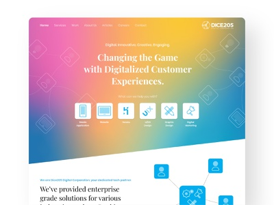 Dice205 Digital Co. - Landing Page user experience prototype user inteface ux clean branding web illustration user experience design user center design ui