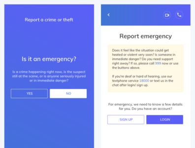 Report emergency app mobile app app card indigo blue ui