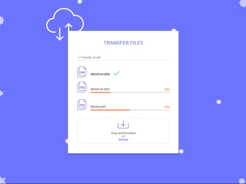 Transfer Files form upload transfer
