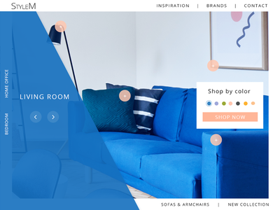 Category page for furniture store  shop orange blue by color category furniture