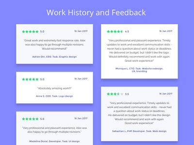 Feedback section - section from Fresh UI Kit sketch montserat raleway cards simple light green purple ui review feedback