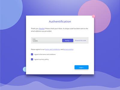 Form example: Code verification screen code verification authentication login ux blue indigo material design ui form