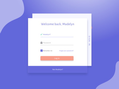 Welcome back screen indigo colourful material design welcome back login