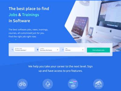 Landing page for a jobs platform