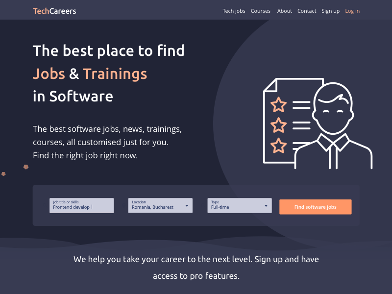 Landing page jobs orange