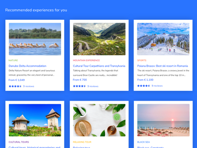 Recommended Experiences search form colorful search landing page jobs platform jobs careers tourism experiences blue material design homepage