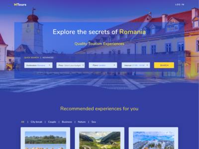 Homepage Mtours Dark travel yellow blue dark homepage material design landing page
