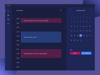 Full Calendar Page purple material date picker ui dark ui events full calendar calendar