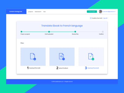 Content strategy tool marketing steps blue bold colors material design dashboard content strategy