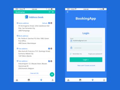 Booking app, login & address book screens address login teal blue mobile app