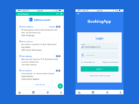 Booking app, login & address book screens