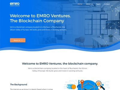 Emro Ventures redesign one page site design landing page ui electric blue crypto currency material design blockchain company blockchain