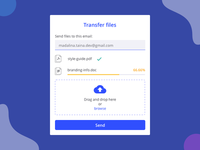 Transfer files card card transfer upload ui bold blue material colors material design form sketch