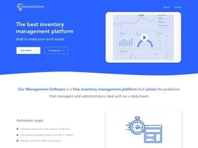 Landing page for inventory management platform ui saas landing page software layout blue material design landingpage