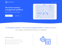 Landing page for inventory management platform