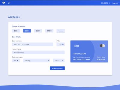 """""""Add Funds"""" Form indigo material design funds payments card"""
