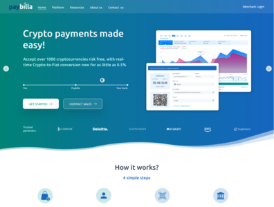 Paybilla website 2019 - Crypto & card payments blue teal gradient material design fintech crypto wallet card payments crypto