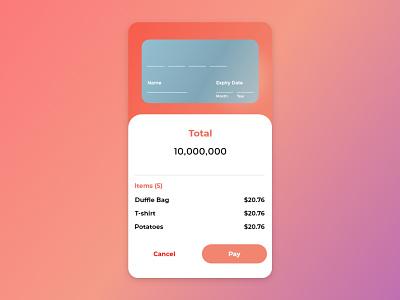 Credit Card Payment Screen ux concept ui design
