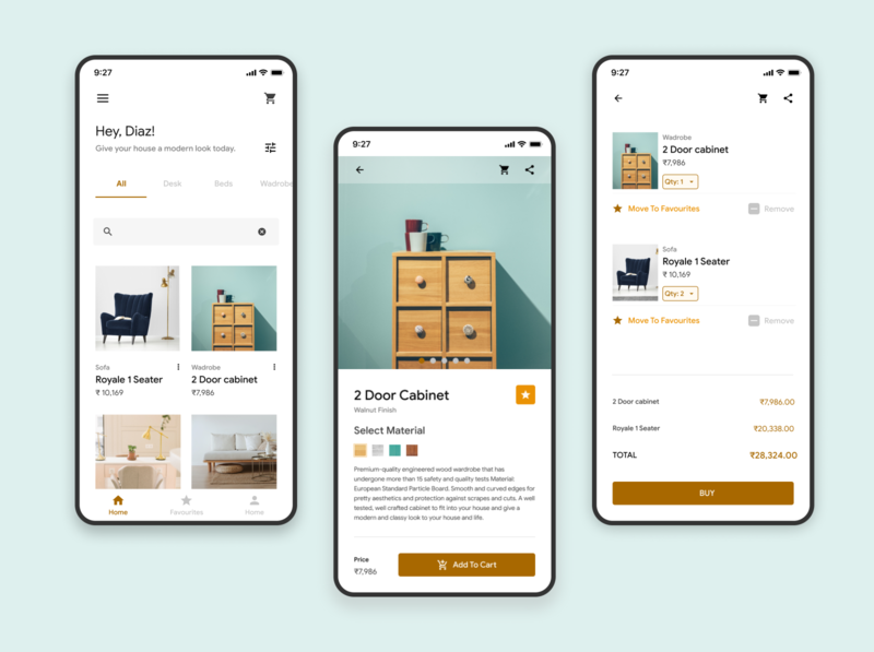 E-Commerce store for Furniture shopping app design. illustration app ux design ui