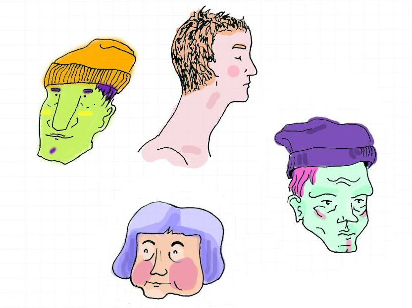 Painted sketches from the subway retrowave neon colours sketchbook ink pen freehand sketch illustration