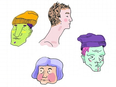 Painted sketches from the subway