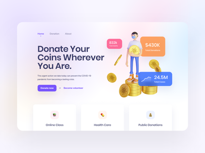 3D Illustration for Donation Dashboard Concept ui  ux crowdfunding fundraising donate money currency cryptocurrency bitcoin volunteer 3d illustration virus corona donation covid-19 dashboard design illustration 3d