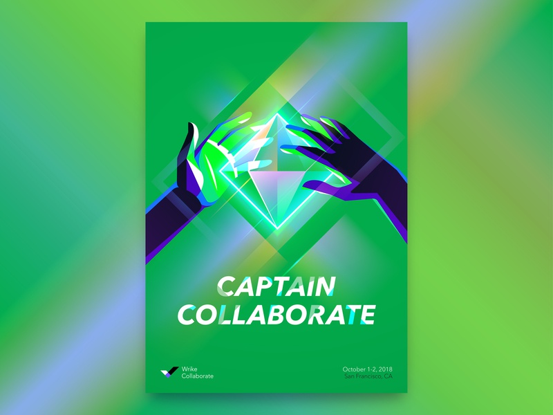Captain Collaborate illustration vector hands superpower superhero collaboration event conference wrike poster brand identity design