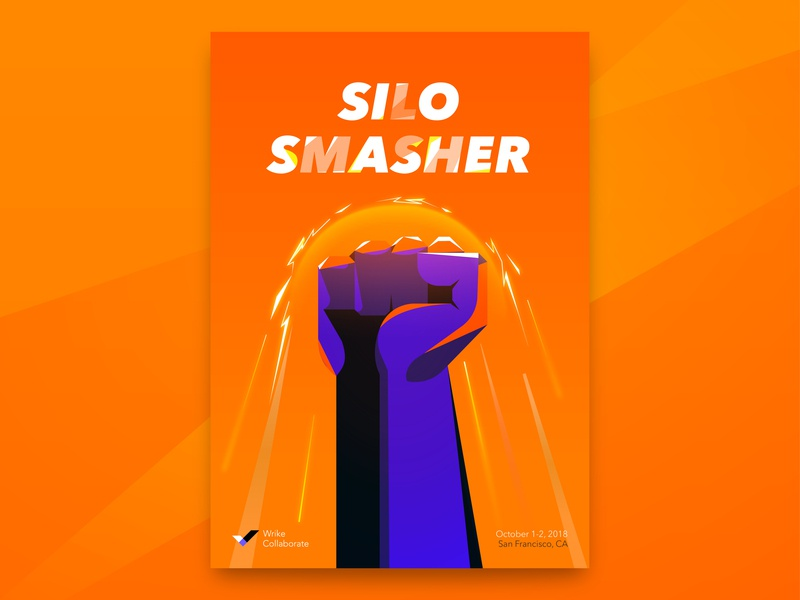 Silo Smasher illustration vector hands superpower superhero collaboration event conference wrike poster brand identity design