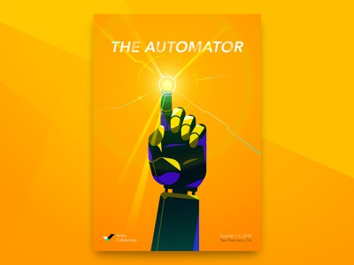 The Automator illustration vector hands superpower superhero collaboration event conference wrike poster brand identity design