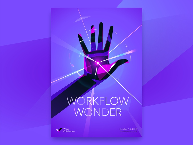 Workflow Wonder illustration vector hands superpower superhero collaboration event conference wrike poster brand identity design