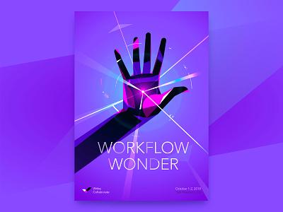 Workflow Wonder illustration vector hands superpower superhero collaboration event conference wrike poster brand identity design